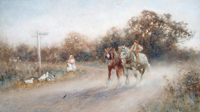Thomas James Lloyd, RWS (British, 1849-1910) A plough team at a crossroads