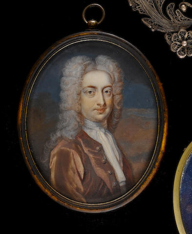 (n/a) Christian Richter (Swedish, 1678-1732) A Gentleman, wearing brown coat over tied white stock, with long powdered wig
