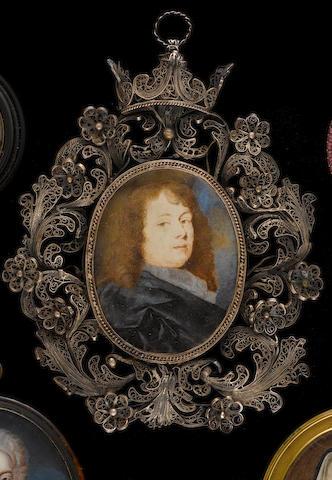 (n/a) Thomas Flatman (British, 1637-1688) A Gentleman wearing black robe over grey chemise, his brown hair worn long