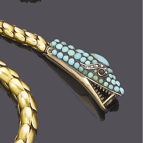 A mid 19th century gold, turquoise and diamond necklace,