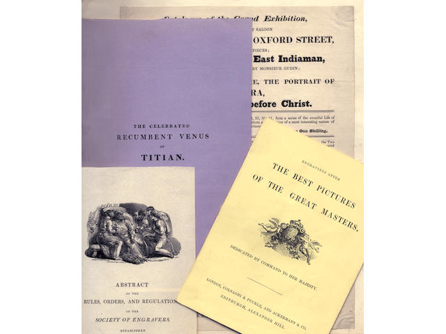 ART EXHIBITIONS and EPHEMERA Album containing pamphlets, exhibition catalogues, broadsides and invitations to nineteenth century art exhibitions, numerous newspaper cuttings, engraved illustrations, and others