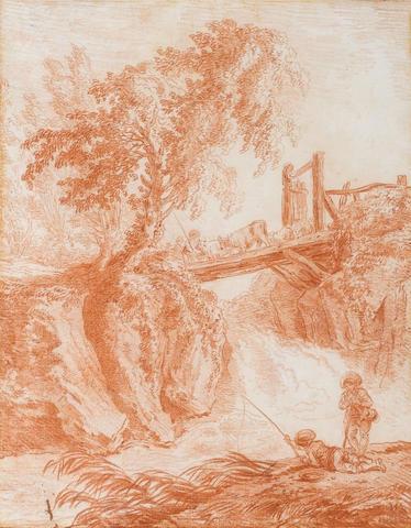 Hubert Robert (Paris 1733-1808) A rocky river landscape 357 x 282 mm.