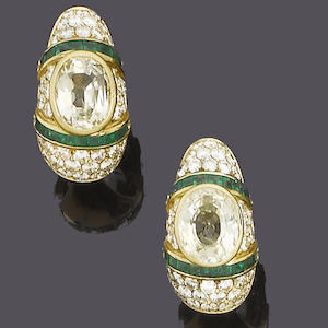 A diamond, yellow beryl and emerald earclip and ring suite
