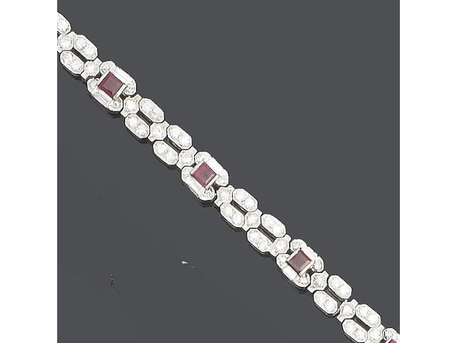 A ruby and diamond bracelet by Boucheron,