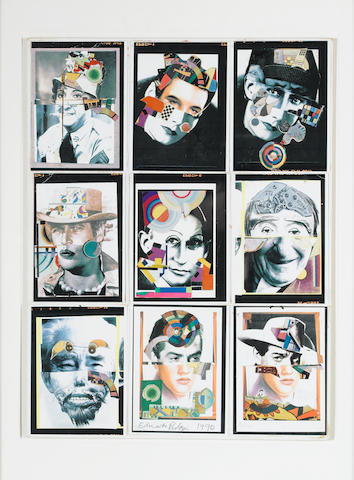 Sir Eduardo Paolozzi (British, 1924-2005) Nine Heads Collage, 1990 49.6 x 37.5 cm. (19.5 x 14 3/4 in