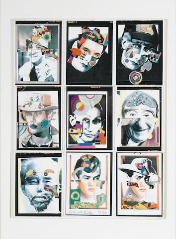 Sir Eduardo Paolozzi (British, 1924-2005) Nine Heads Collage, 1990 49.6 x 37.5 cm. (19.5 x 14 3/4 in