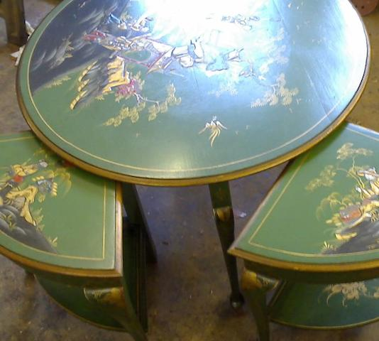 A George V green and gilt Japanned nest of occasional tables,