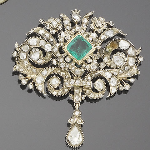 A possibly 18th century diamond and emerald brooch/pendant