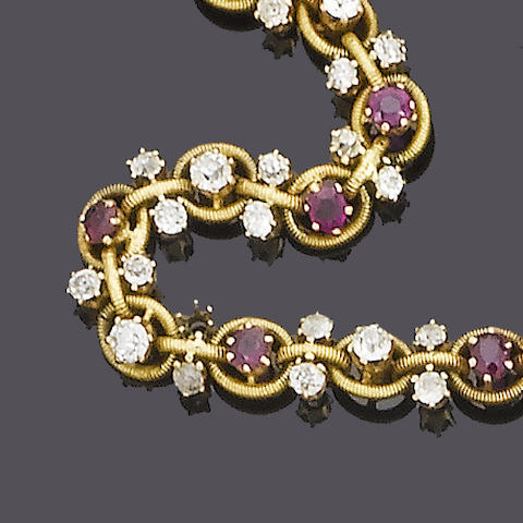 A late 19th century diamond and ruby necklace