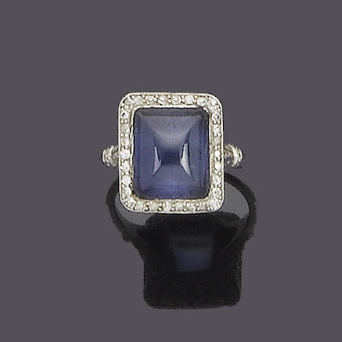 An early 20th century sapphire and diamond ring,
