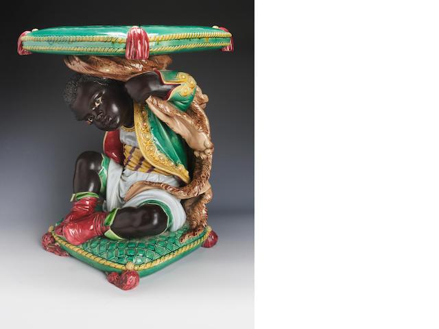 A minton majolica Blackmoor Garden Seat