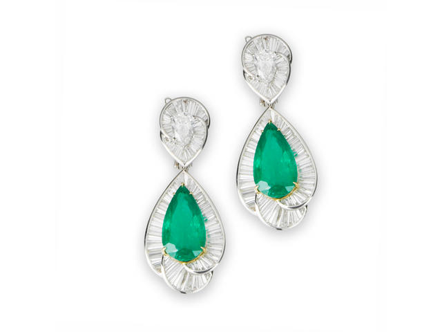 A pair of emerald and diamond earrings, by Dianoor
