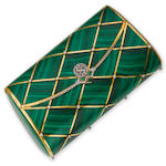 A malachite, emerald and diamond evening bag, by Asprey