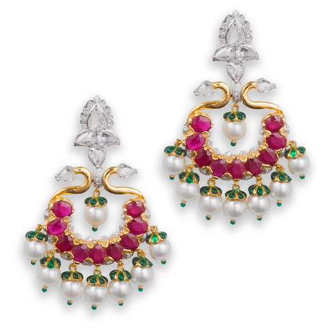 A pair of diamond, ruby and cultured pearl earrings