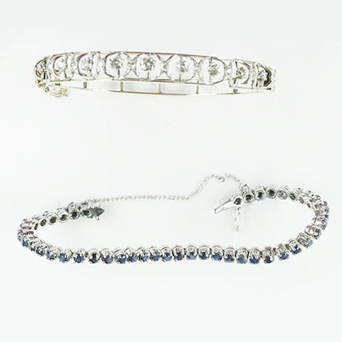 A sapphire set 'tennis' bracelet (2)