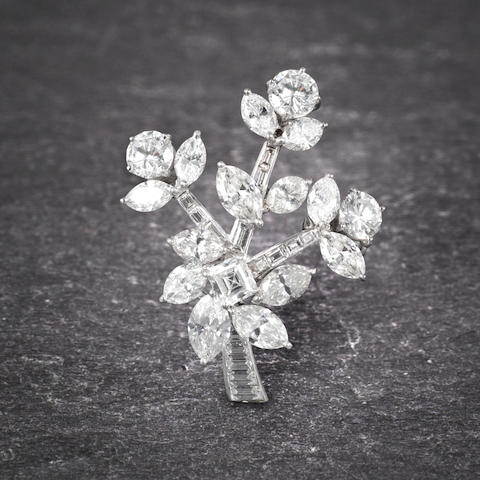 A diamond flower brooch, by Cartier