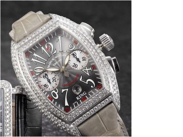 Franck Muller. A fine stainless steel and diamond set automatic chronograph calendar wristwatch Conquistador, 1990's, No.132, Ref.8005 CC King Conquistador