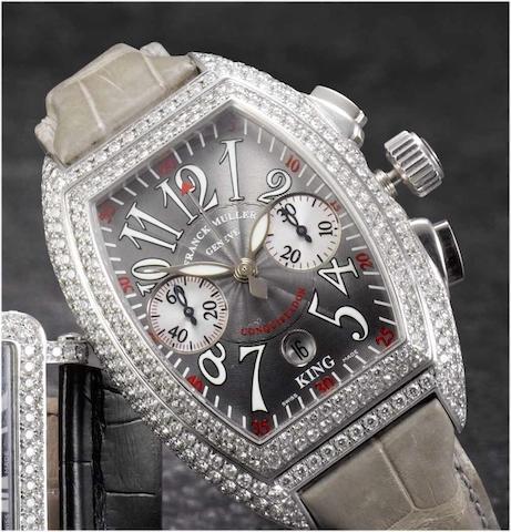 Franck Muller. A fine stainless steel and diamond set automatic chronograph calendar wristwatch Conquistador, 1990's, No.132, Ref.8005 CC King Conquistador