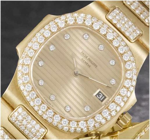 Patek Philippe. A fine lady's 18ct gold diamond set calendar bracelet watchNautilus, recent