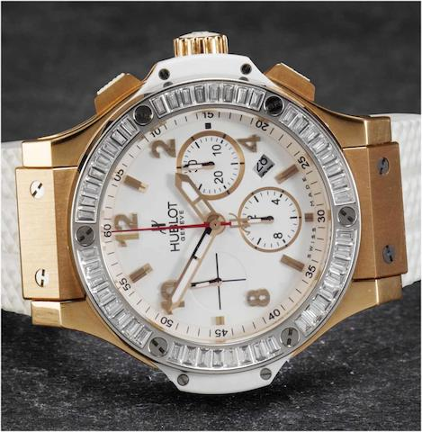 Hublot. A fine and rare 18ct rose gold and ceramic chronograph wristwatch with platinum and diamond set bezel Big Bang, Ref.301, No.646248, recent