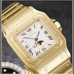 Cartier. A fine 18ct gold calendar bracelet watch with moonphases Santos, recent