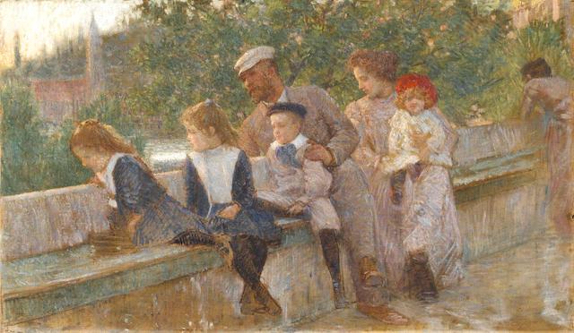 Vlaho Bukovac - The artist and his family at Cavtat