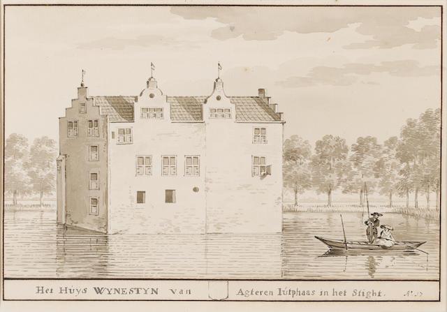 Aert Schouman (Dordrecht 1710-1792 The Hague) A view of the Wynestyn House; and A view of the village of Sliedrecht 161 x 232 mm. (2)