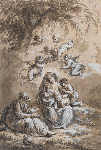 Francesco Zuccarelli (Pitigliano 1702-1788 Florence) The Holy Family with the Infant Saint John the Baptist 400 x 270 mm. unframed