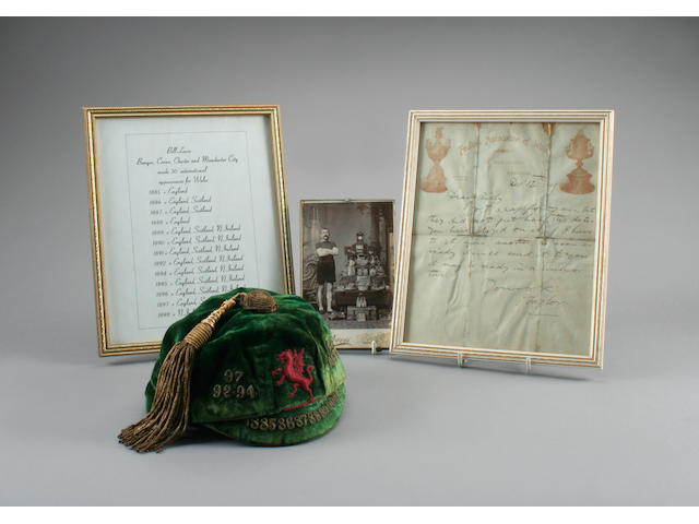 1891 Welsh International Cap awarded to Bill Lewis - one of the first caps awarded