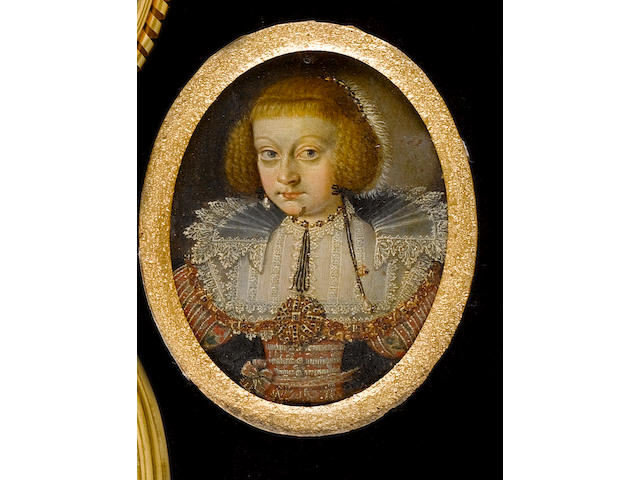 (n/a) Flemish School, circa 1610 A Lady, wearing silver embroidered red dress with white lace bonnet and ruff, a large gold jewel on black ribbon hanging from a necklace, pearl and ring on a black ribbon hanging from her ear and jewelled slide and white fur in her auburn hair
