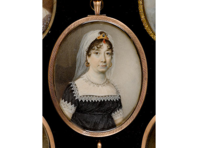 Circle of George Engleheart (British, 1750/3-1829) A Lady, wearing black dress with white lace trimming, lace fill-in, pearl necklace, tiara and matching veil