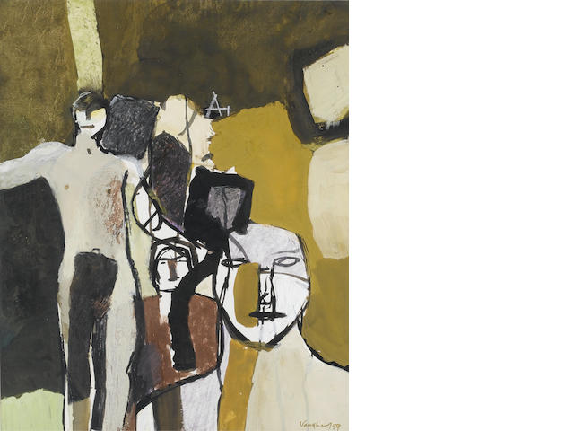 Keith Vaughan Group of figures-Amacuzac Gouache, 1959