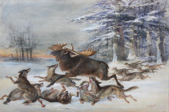 Charles Harvey Weigall, NWS (British, 1794-1877) 'Elk hounded by Wolves' 42.5 x 59cm.