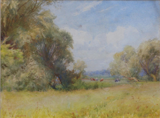 Ernest Albert Chadwick, RI, RBSA (British, 1876-1955) Cattle grazing in a summer meadow 17 x 25cm.