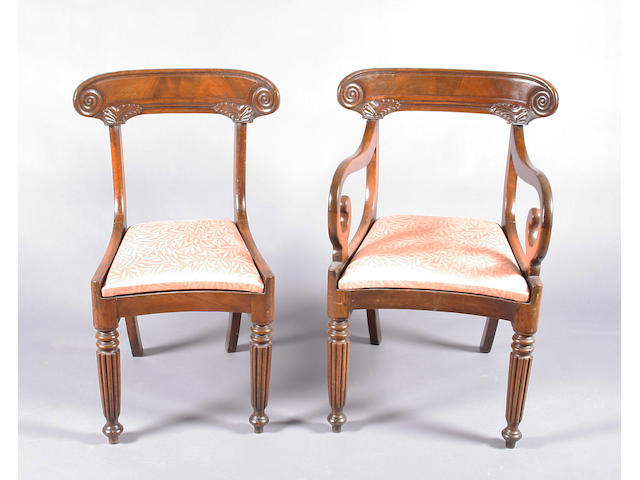 A set of seven William IV mahogany dining chairs