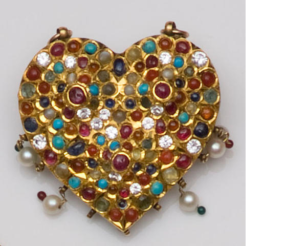 An Indian late 19th century gem set heart-shaped brooch