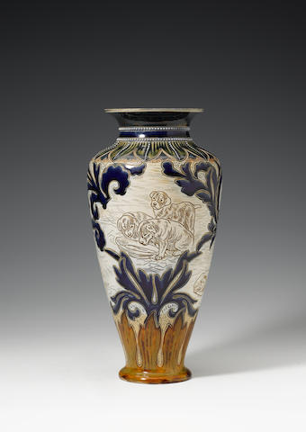 Hannah Barlow for Doulton Lambeth A Superb Vase with Dogs and Puppies, circa 1895