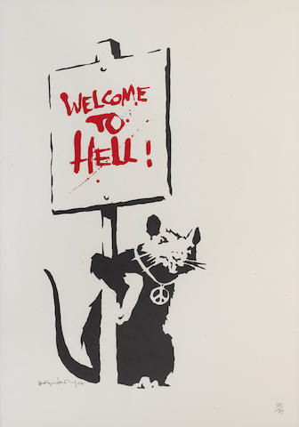 Banksy (British, born 1975) 'Welcome to Hell', 2004 signed, dated and numbered '50/75' in pencil, screenprint sheet