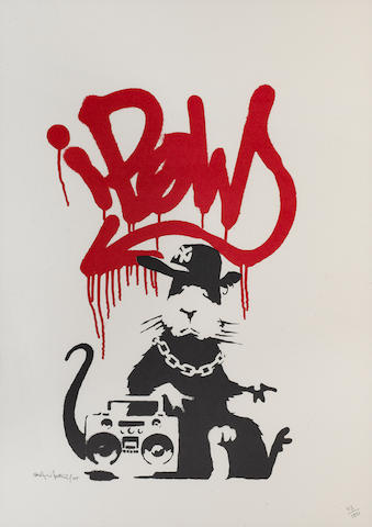 Banksy (British, born 1975) 'Gangsta Rat', 2004 signed, dated and numbered '113/150' in pencil, screenprint sheet