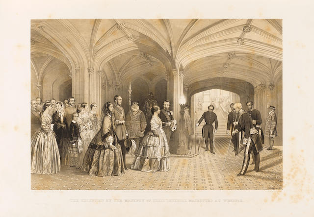 ROYALTY BROOKS (SHIRLEY) The Visit of Their Imperial Majesties, the Emperor and Empress of the French, to Her Most Gracious Majesty the Queen, April 1855. From drawings executed, at the Command of Her Majesty, by Louis Haghe, Edouard Morin, and George Thomas, FIRST EDITION