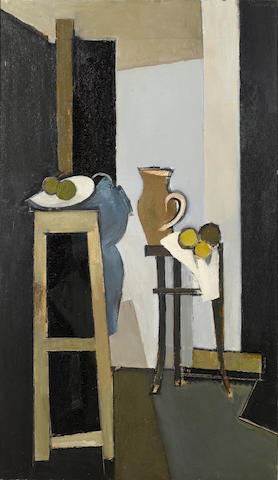 Keith Vaughan (British, 1912-1977) Vertical still-life group 122 x 71 cm. (48 x 28 in.)