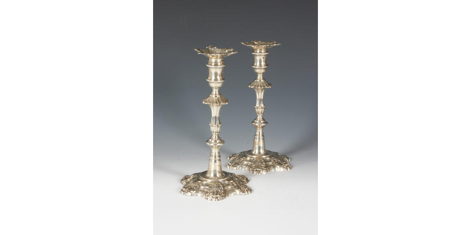 A pair of George III silver candlesticks By Ebenezer Coker, 1760,