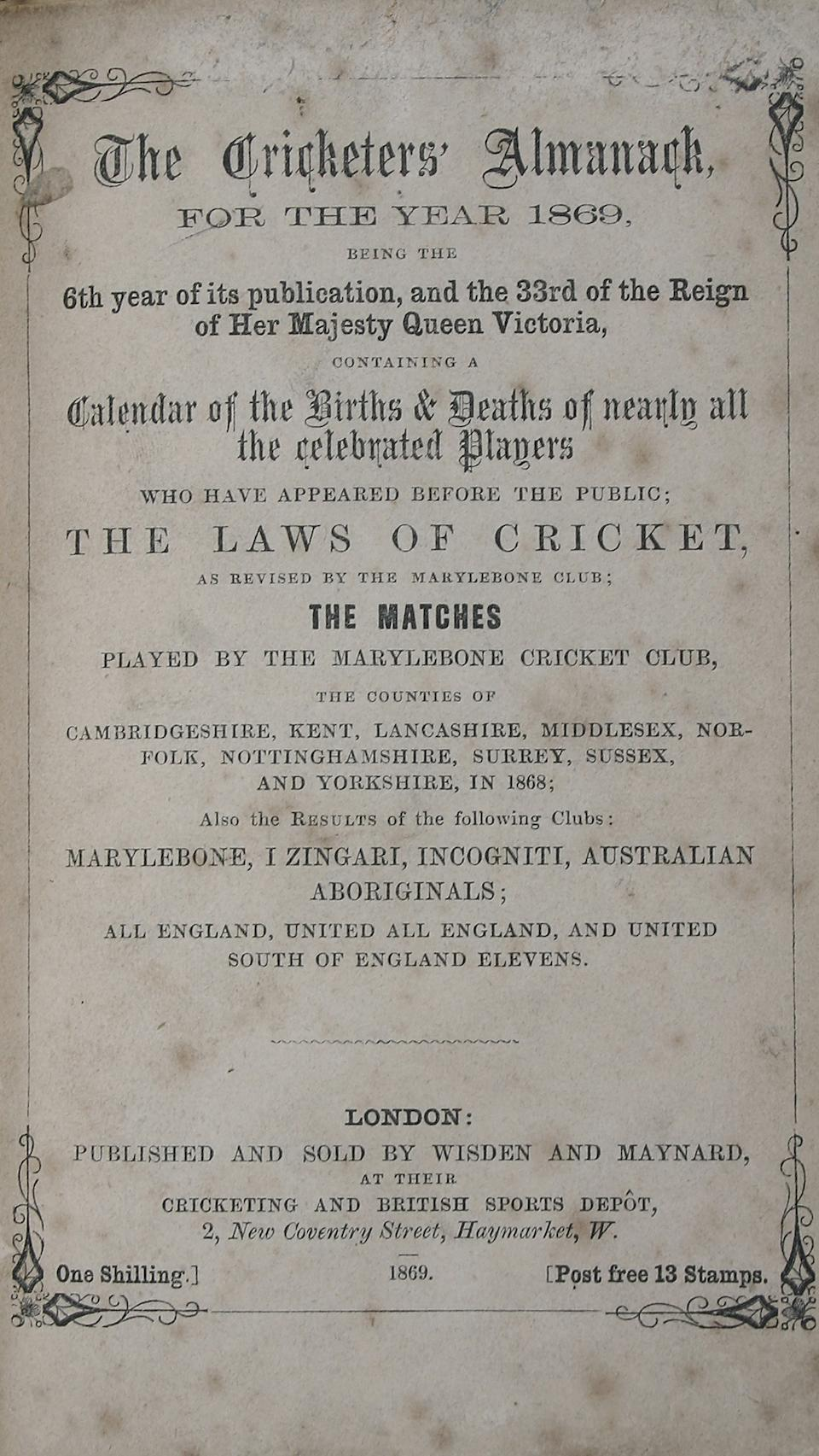 Complete set of John Wisden's Cricketers' Almanacks