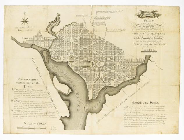 WASHINGTON, D.C. ELLICOTT (ANDREW) Plan of the City of Washington in the Territory of Columbia, Cede