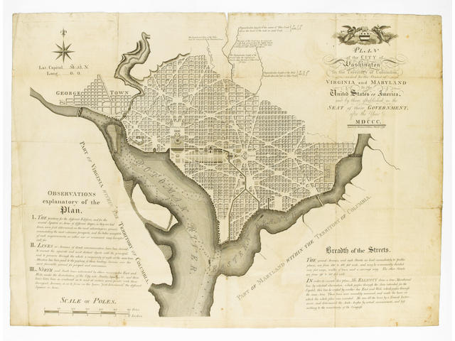 WASHINGTON D.C. ELLICOTT (ANDREW) Plan of the City of Washington in the Territory of Columbia, ceded by the States of Virginia and Maryland to the United States of America, and by them established as the Seat of the Government after the Year MDCCC