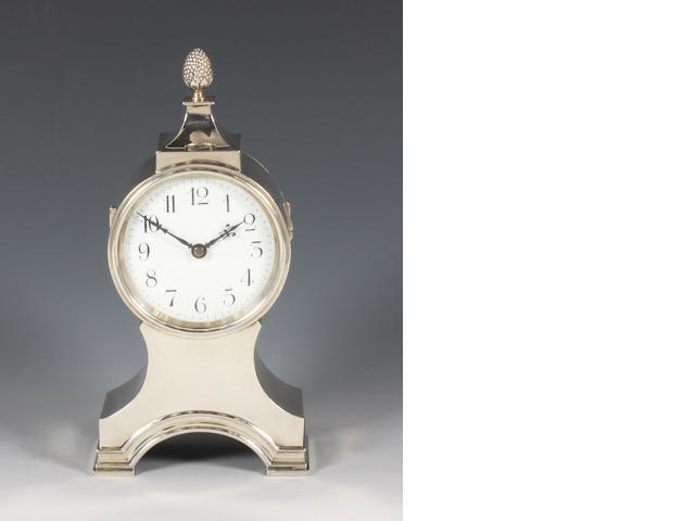 A silver mantel clock By William Comyns, 1910,