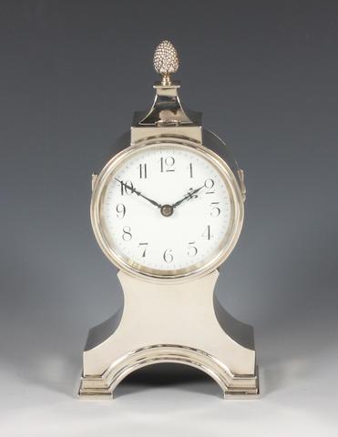 A silver mantel clock By William Comyns, 1910,