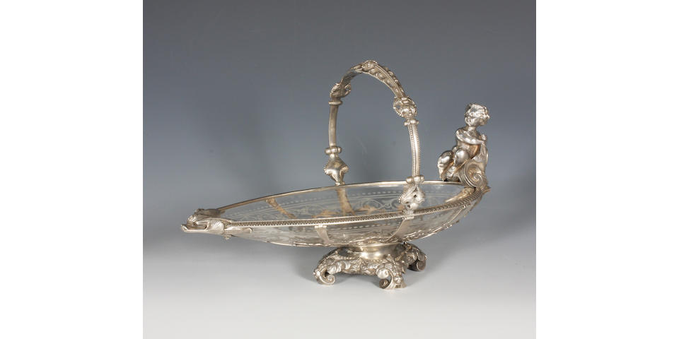 A Victorian silver mounted etched glass basket By Hunt and Roskell, 1873,