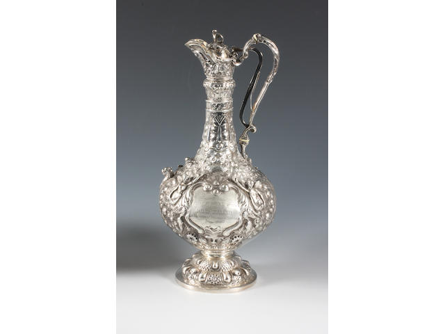 A late 19th century Irish silver 'Armada' pattern ewer Maker's mark 'J.S' in a rectangular punch, 1870,