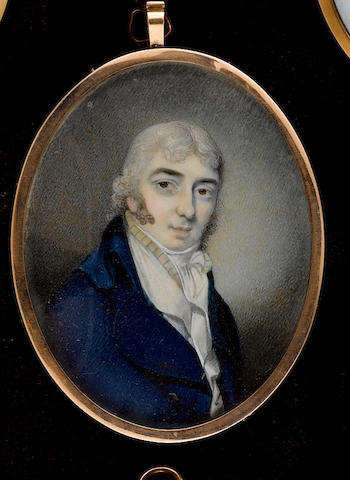 Attributed to George Place (Irish, died 1805), A Gentleman, wearing blue coat, white waistcoat and striped yellow solitaire, his hair powdered